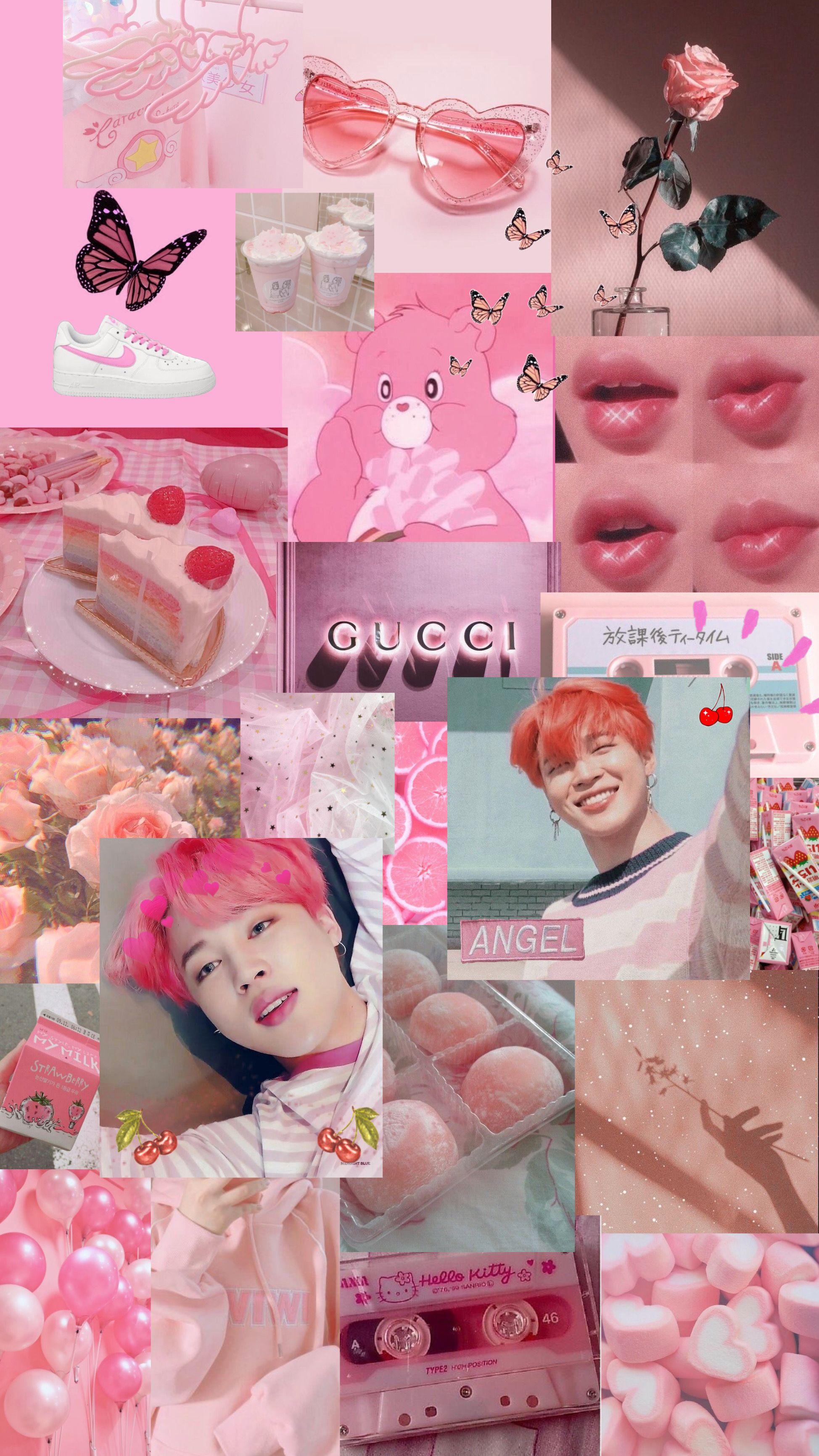 Jimin Pink Collage Aesthetic Jimin Wallpaper Jimin Pictures Park Jimin Cute Aesthetic jimin cute wallpaper