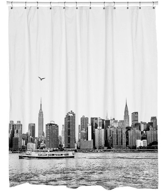 New York Skyline Shower Curtains Por CustomFlatDecor En Etsy