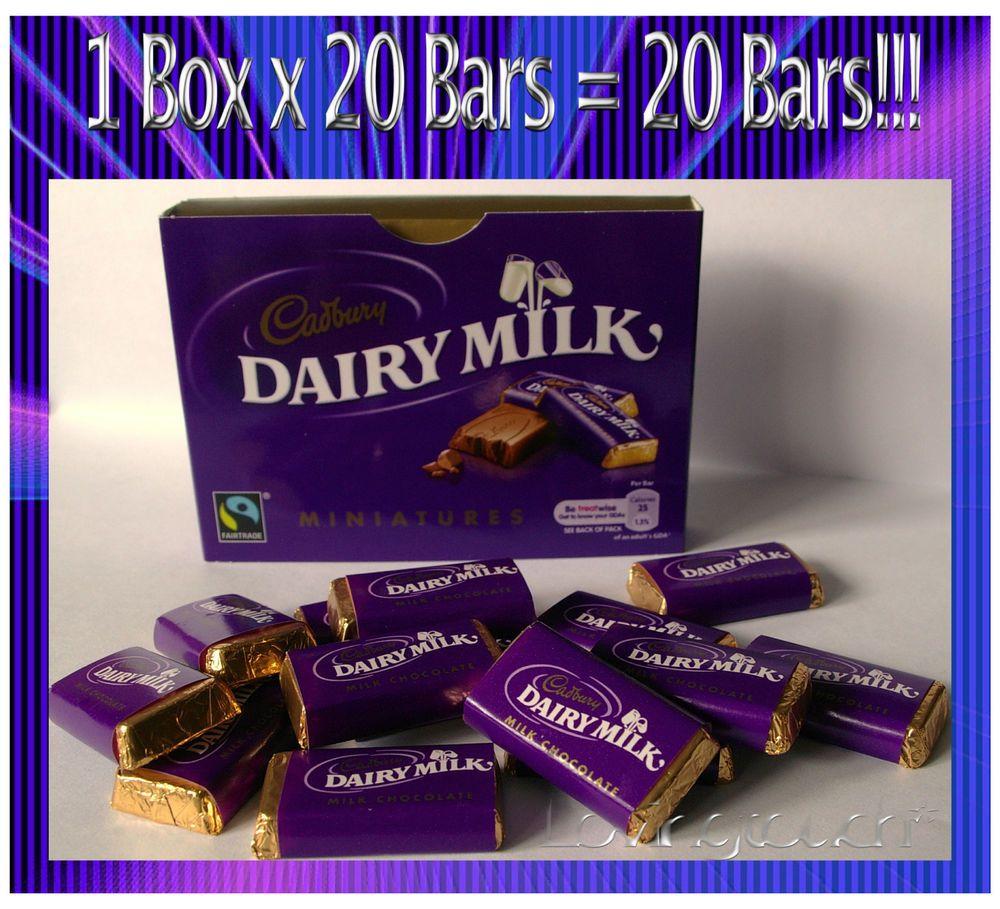 Cadbury dairy milk miniatures 1 x 20 box 20 wrapped milk