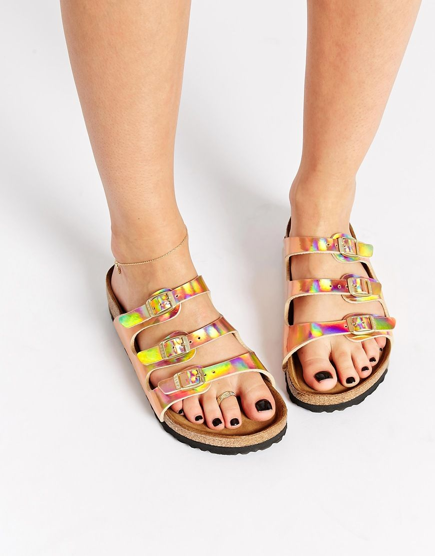 birkenstock arizona mirror rose gold