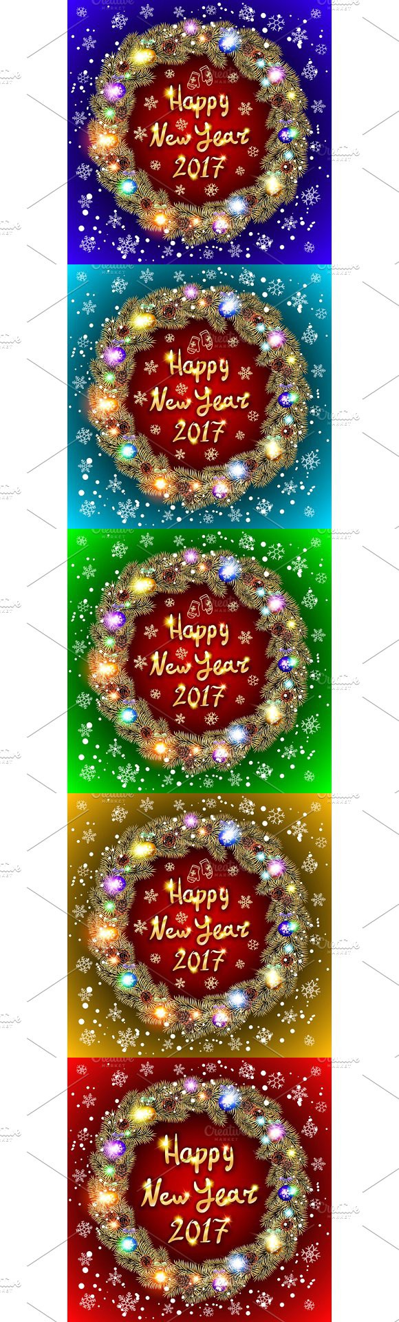 New Year Vector 2017 gold wreath. Pattern Vectors