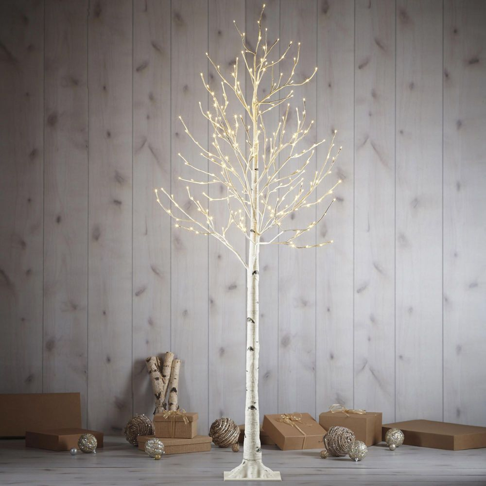 Indoor Outdoor Christmas 7 Foot LED Birch Tree Warm White Twinkle ...