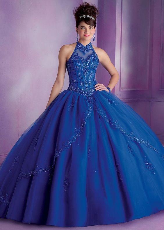 eb97bc7a3 Vestidos de 15 años azul largos que se hacen cortos