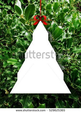 Stock #photo: #blank #tree #frame #ornament #red #Christmas #ribbon ...
