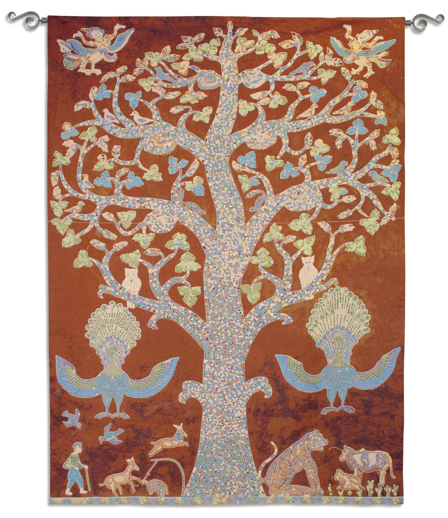 Tree of Life Tapestry - Temple Wall Hanging The 16th Century Laos Tree of Life is also known as Temple. It's mosaic design is filled with symbolic messages. The animals come into play in this Tree of