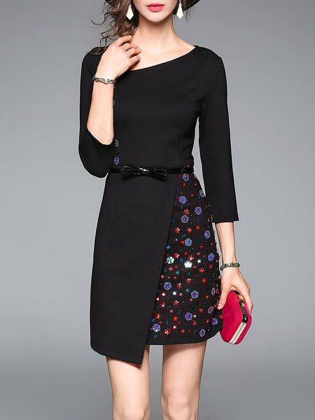 3/4 Sleeve Simple A-line Appliqued Mini Dress