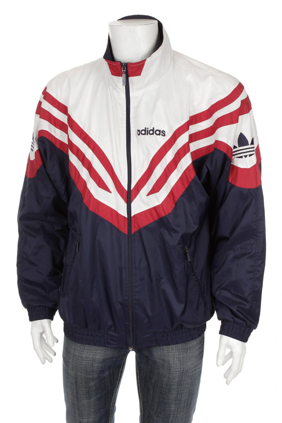 2d64376a0524 Vintage 90s Adidas Trefoil Windbreaker Tracksuit top jacket Blue Red White  Size L D7 by VapeoVintage on Etsy