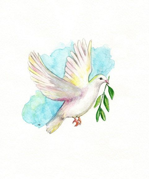 Dove With Olive Branch Aqua Blue Archival By Kellybermudez 19 00 Dove With Olive Branch Dove Painting Olive Branch Tattoo