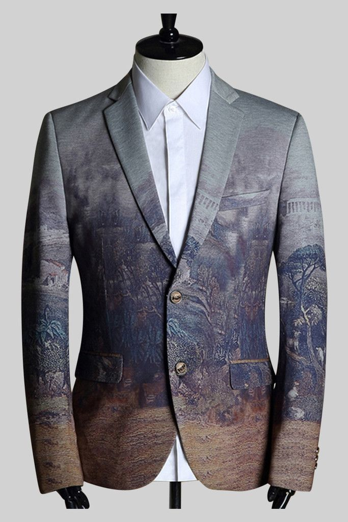 Two-Button Outdoor Print Sport Jacket. Free 3-7 days expedited shipping to U.S. Free first class word wide shipping. Customer service: help@moooh.net