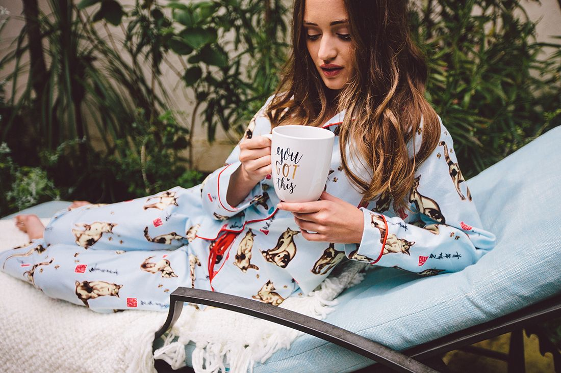 Hot coffee, cozy PJs and a brisk morning. Weekends were made for The Cat's Pajamas!