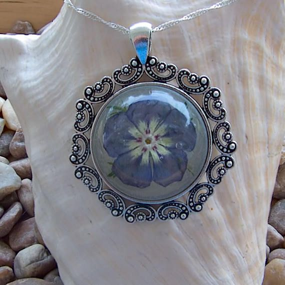 Handmade Purple Florida Phlox Wildflower Pendant Necklace