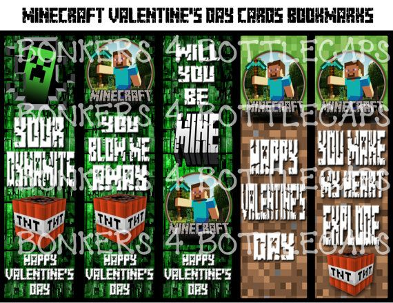 Minecraft Characters 6 X 2 Bookmarks 4 Printable Designs For Download Only Creeper Steve Enderman End Minecraft Characters Bookmarks Printable Designs