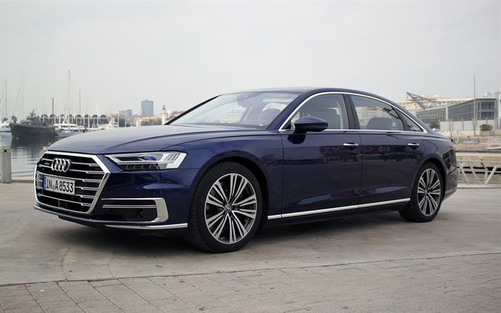 download wallpapers audi a8 2019 blue sedan business class luxury cars blue a8 audi cars. Black Bedroom Furniture Sets. Home Design Ideas