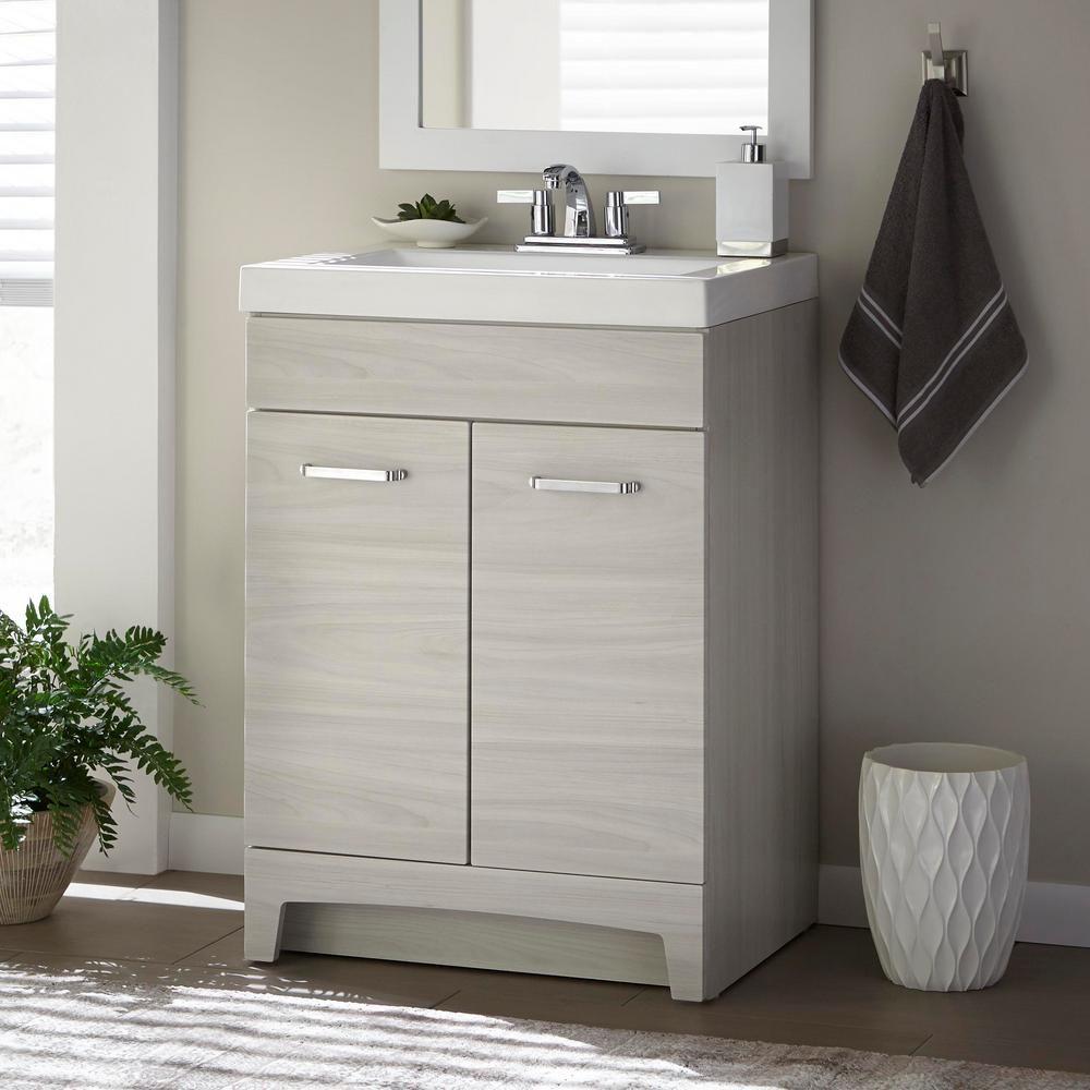 Glacier Bay Stancliff 24 In W X 19 In D Bathroom Vanity In Elm Sky With Cultured Marble Vanity Top In White With White Sink St24p2 Ek The Home Depot Marble Vanity