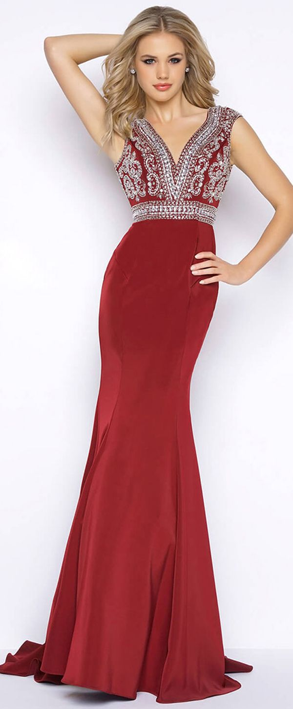 e61fb82f348 Beautiful Acetate Satin V-neck Neckline Cut-out Mermaid Evening Dresses  With Beadings