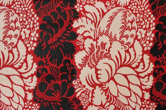 1960s Vintage Wallpaper Red And Black Floral Damask By The Vintage Wallpaper Floral Damask Wallpaper