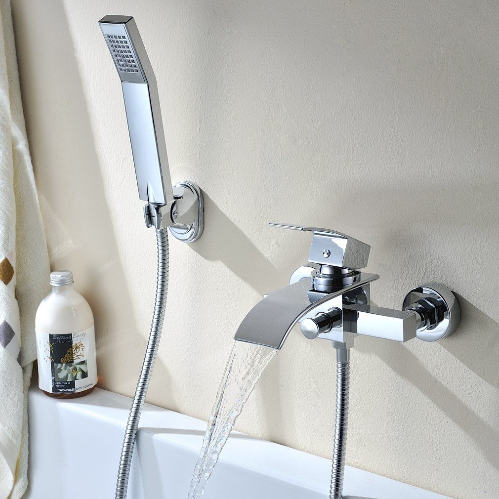 hand held shower head for bathtub faucet.  Tub Taps Waterfall Bathtub Faucet Wall in Mounted DIY Shower Sets Incl Brass Mixer Water Tap with Ceramics Cartridge Handheld Auralum Chrome plated