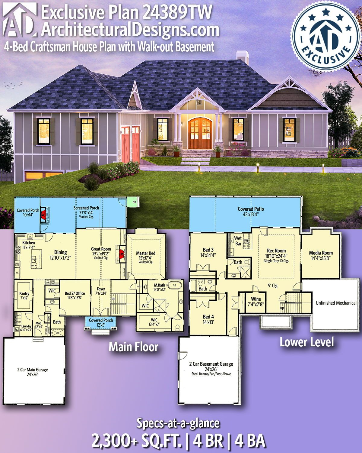Plan 24389tw 4 Bed Craftsman House Plan With Walk Out Basement Basement House Plans Ranch House Plans House Plans