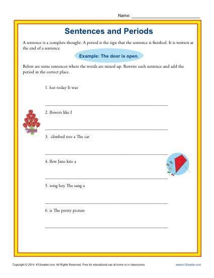 Sentences and Periods | K12 | Pinterest | Sentences, Punctuation ...