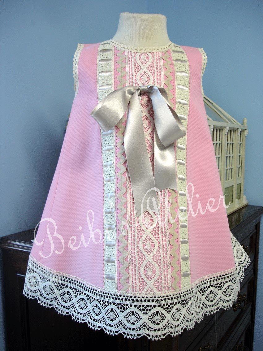 f21c9bd18 Vestido rosa y visón para niña de Beibi's Atelier - Moda infantil -  Mercadillos BC