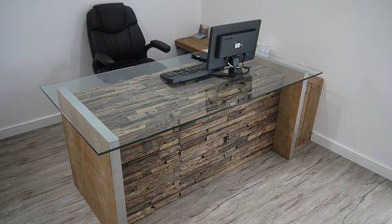 Modern computer desk rustic computer desk glass - Escritorios rusticos de madera ...