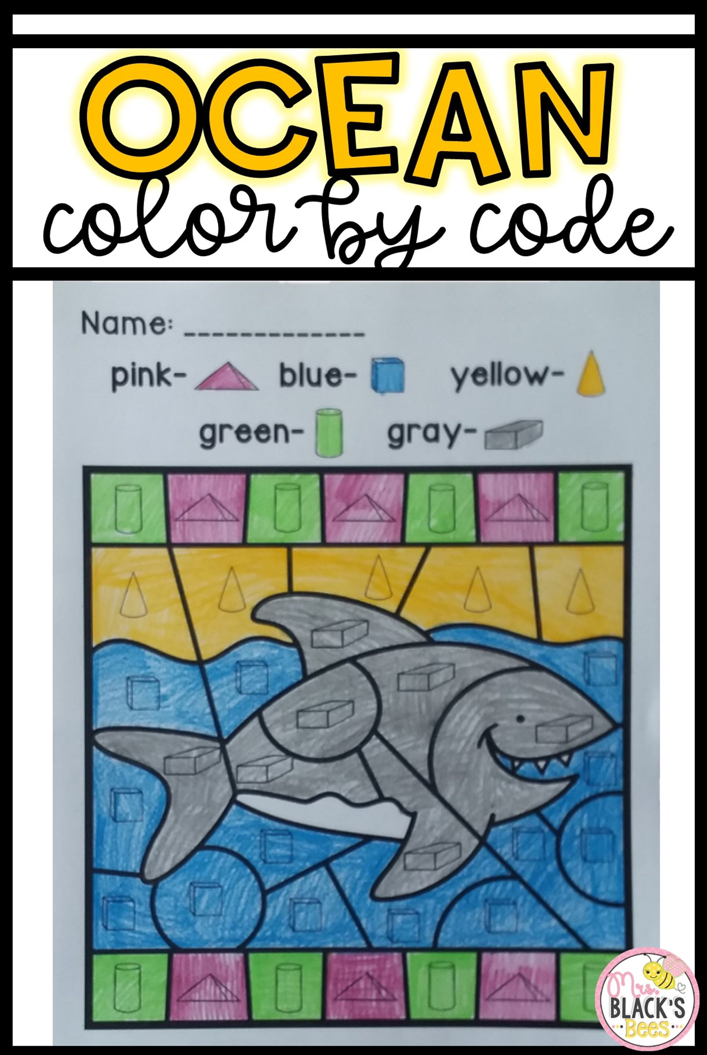 Ocean- Color by Code | 3d shapes, Kindergarten and Students