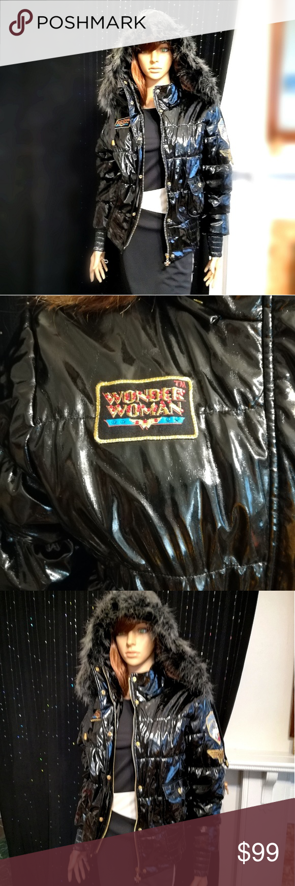 d3e3ce49e Wonder woman puffy coat Super shinny, Wonder woman authentic DC comics  puffer jacket, worn once, awesome outterwear, the size is XL GIRLS juniors,  ...