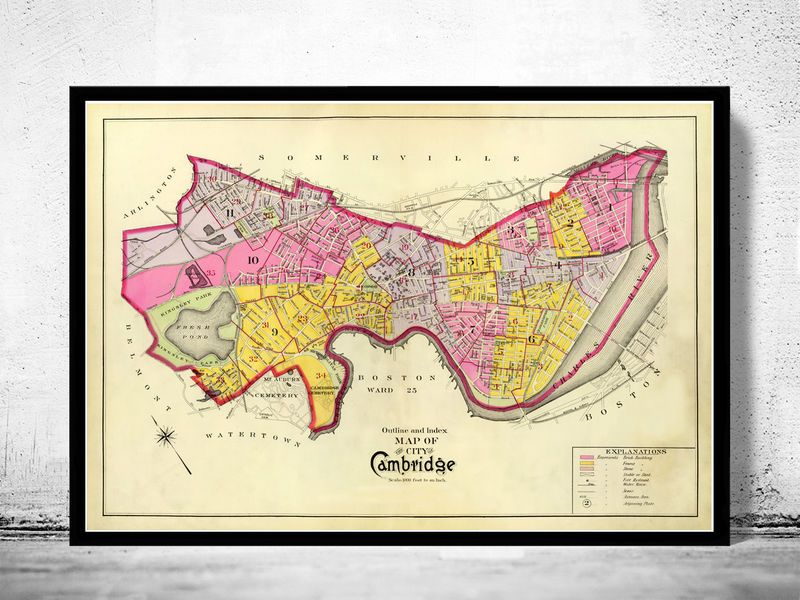 Vintage Map of Cambridge Massachusetts 1880 product image OLD
