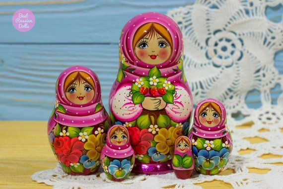 Handpainted Nesting Doll Gift Idea For Girlfriend Russian Babushka