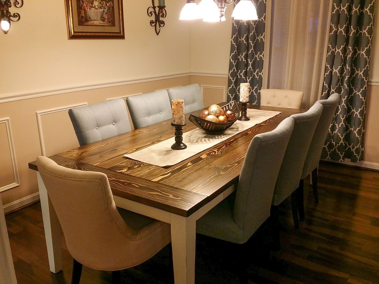 Solid wood farmhouse table with breadboards and tapered for Solid wood farmhouse table