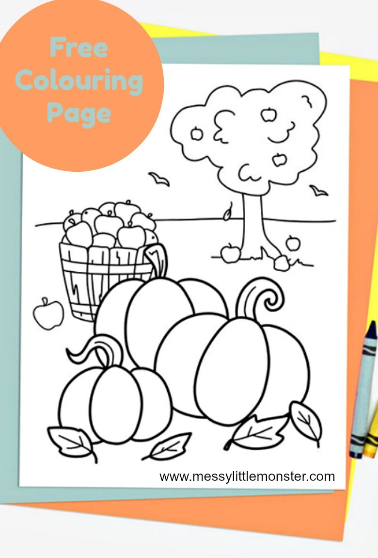 Free Printable Autumn Colouring Page #autumncolours