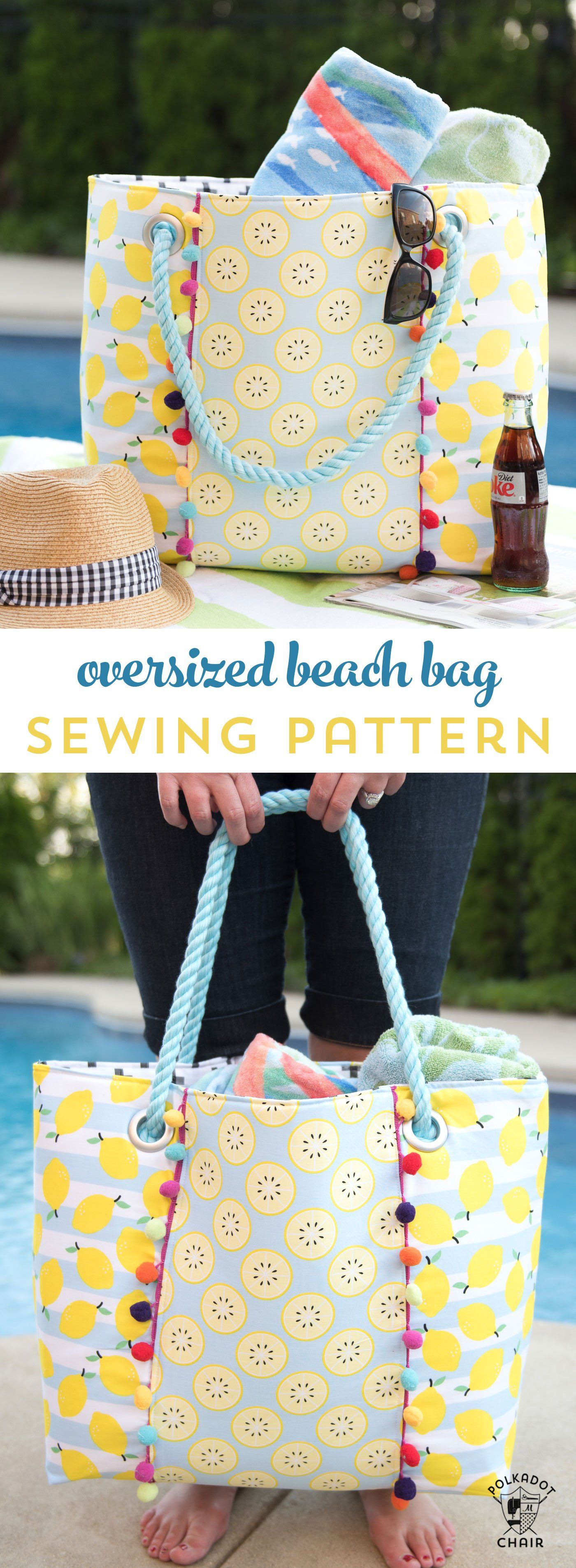 Oversized Beach Bag Sewing Pattern #bagsewingpatterns