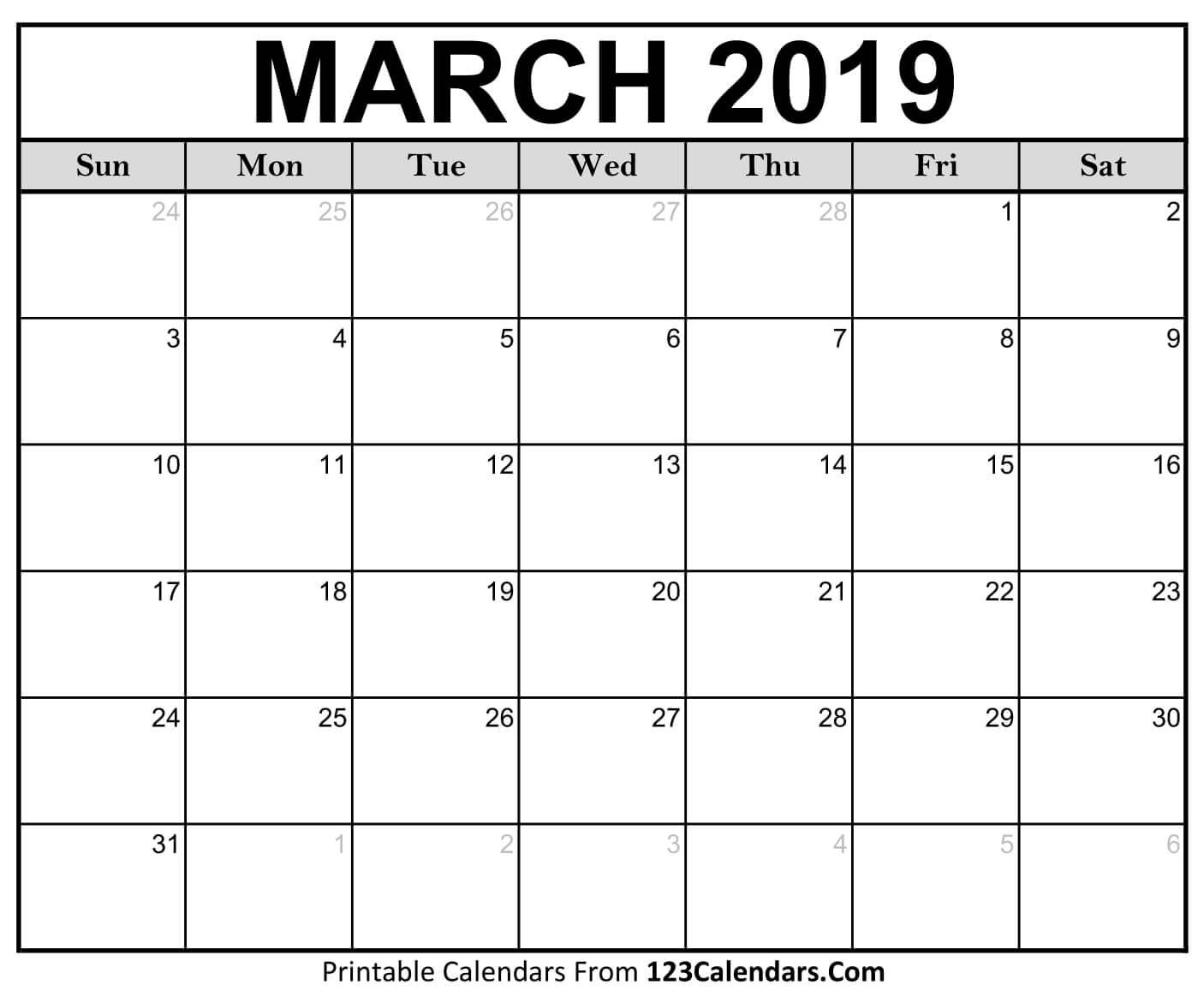 March 2020 Printable Calendar Calendar Printables Printable