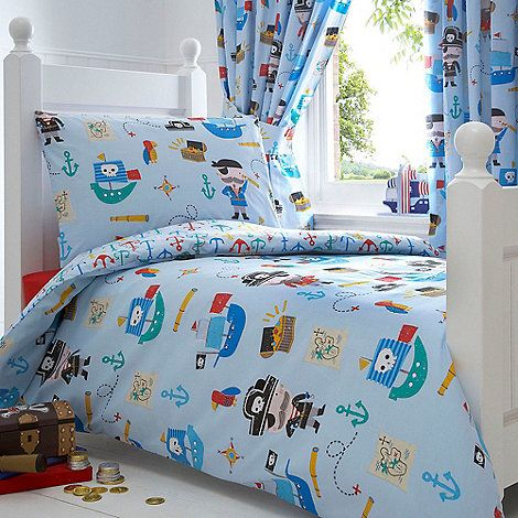 Bluezoo Kids Blue Pirates Toddler Duvet Cover And Pillow Case Set Toddler Bed Set Big Boy Bedrooms Toddler Duvet Cover