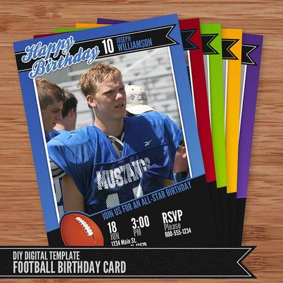 Football Card Birthday Invitation 5x7 Photoshop By SaunterStudios 800
