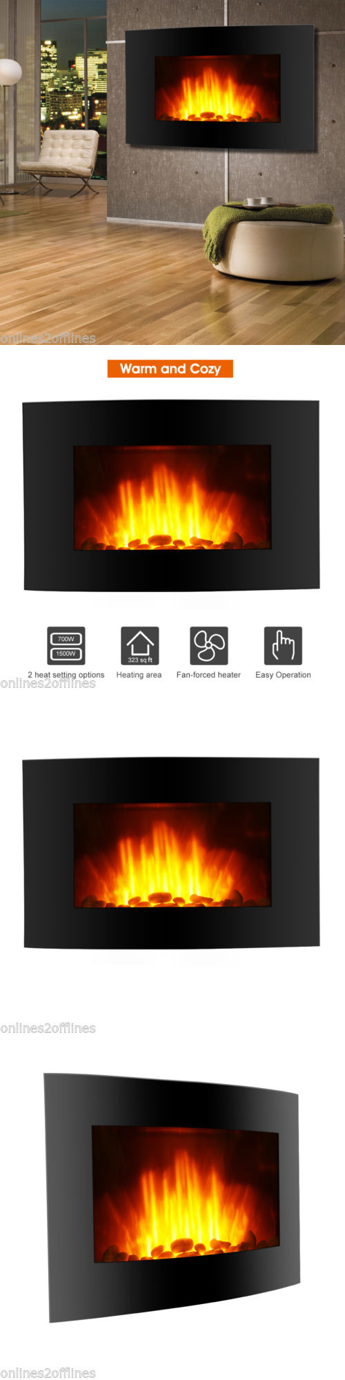 fireplaces 175756 1500w room adjustable led electric wall mount