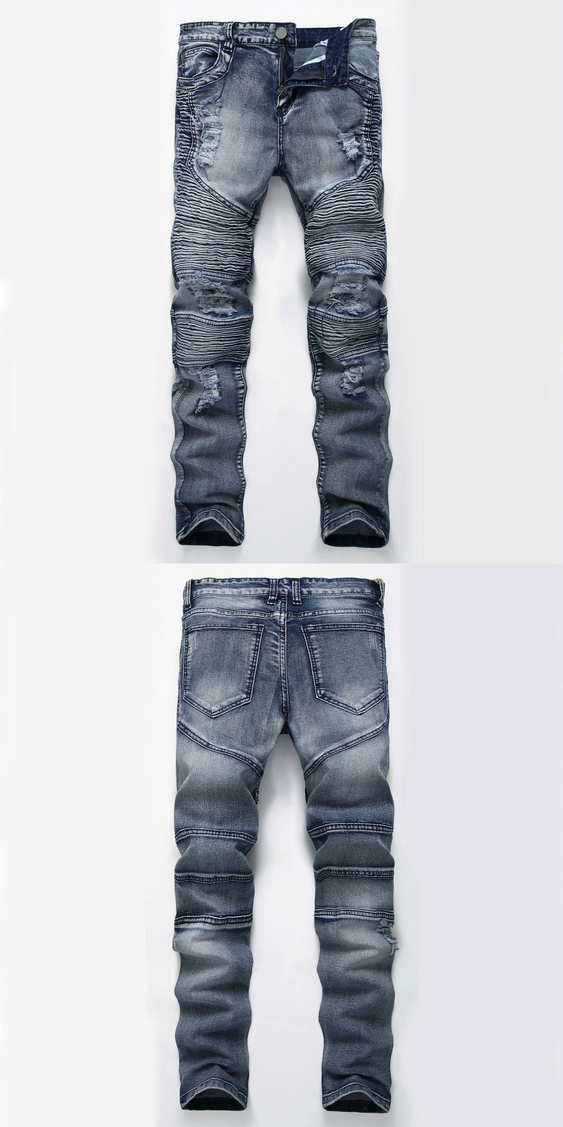 bd0dacae7ca Mens Skinny jeans men Runway Distressed slim elastic jeans denim Biker jeans  hip hop pants Washed Pleated jeans blue