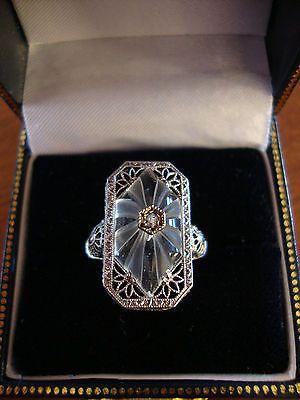 799e6d40cd0a Art Deco 14k White Gold Diamond Camphor Glass Filigree Ring- Size 7.25