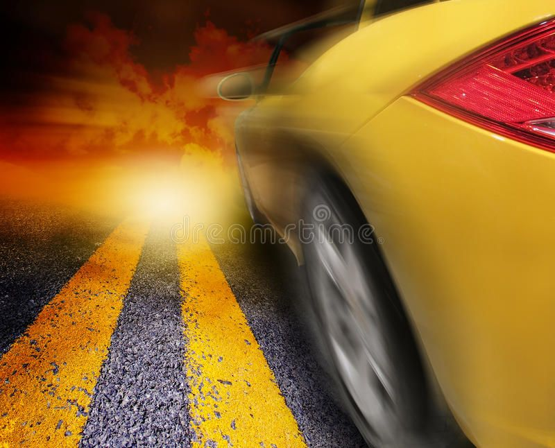 Yellow Sport Car Driving To Sunset A Yellow Car Is Driving On A Road With A Zoo Aff Sunset Yellow Car Driving Yellow Yellow Car Car Sports Cars
