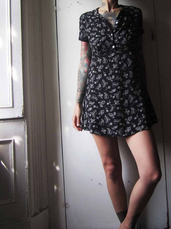 7976fc67698 vintage 90s black with white flower babydoll dress. pair with Doc Martens  or Mary Janes.