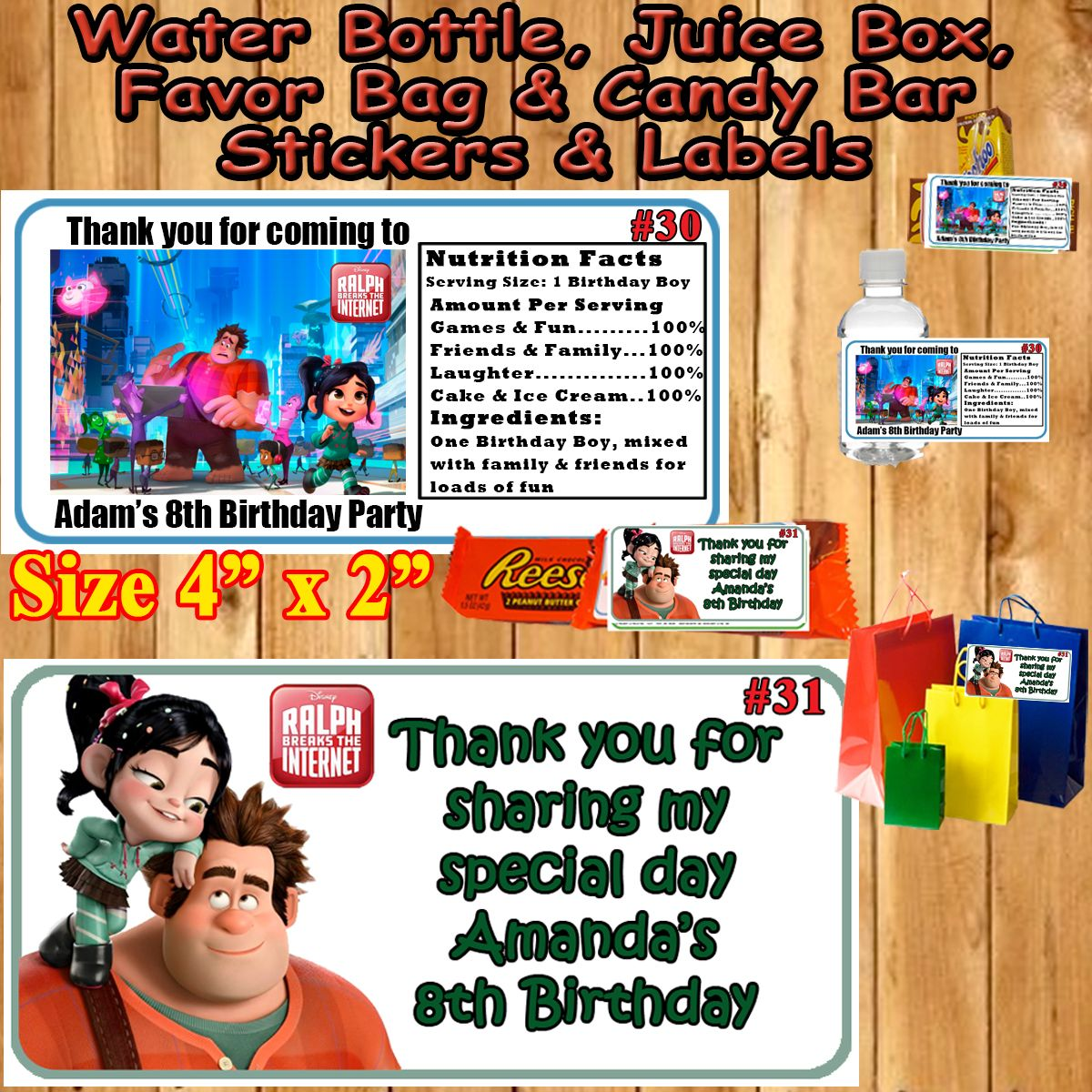 Ralph Breaks The Internet Birthday Favor Stickers With Images Printed Birthday Birthday Stickers Sticker Labels