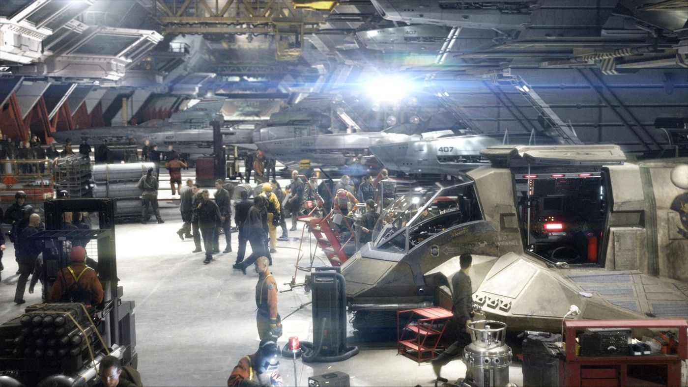 Battlestar Hangar Bay With Images Battle Star Battlestar