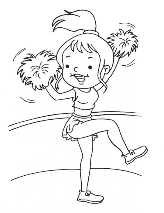 cheerleaders coloring pages - funny little girl excited to be a cheerleader coloring