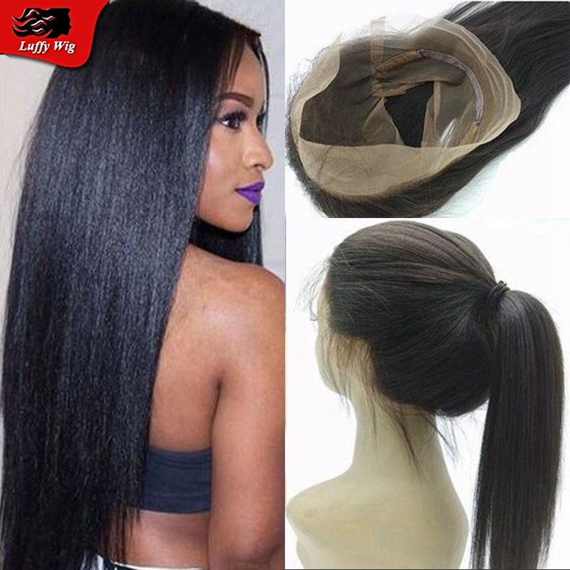 Yaki straight Brazilian human hair 360 lace frontal closure natural color straight virgin hair 360 lace frontal with baby hair
