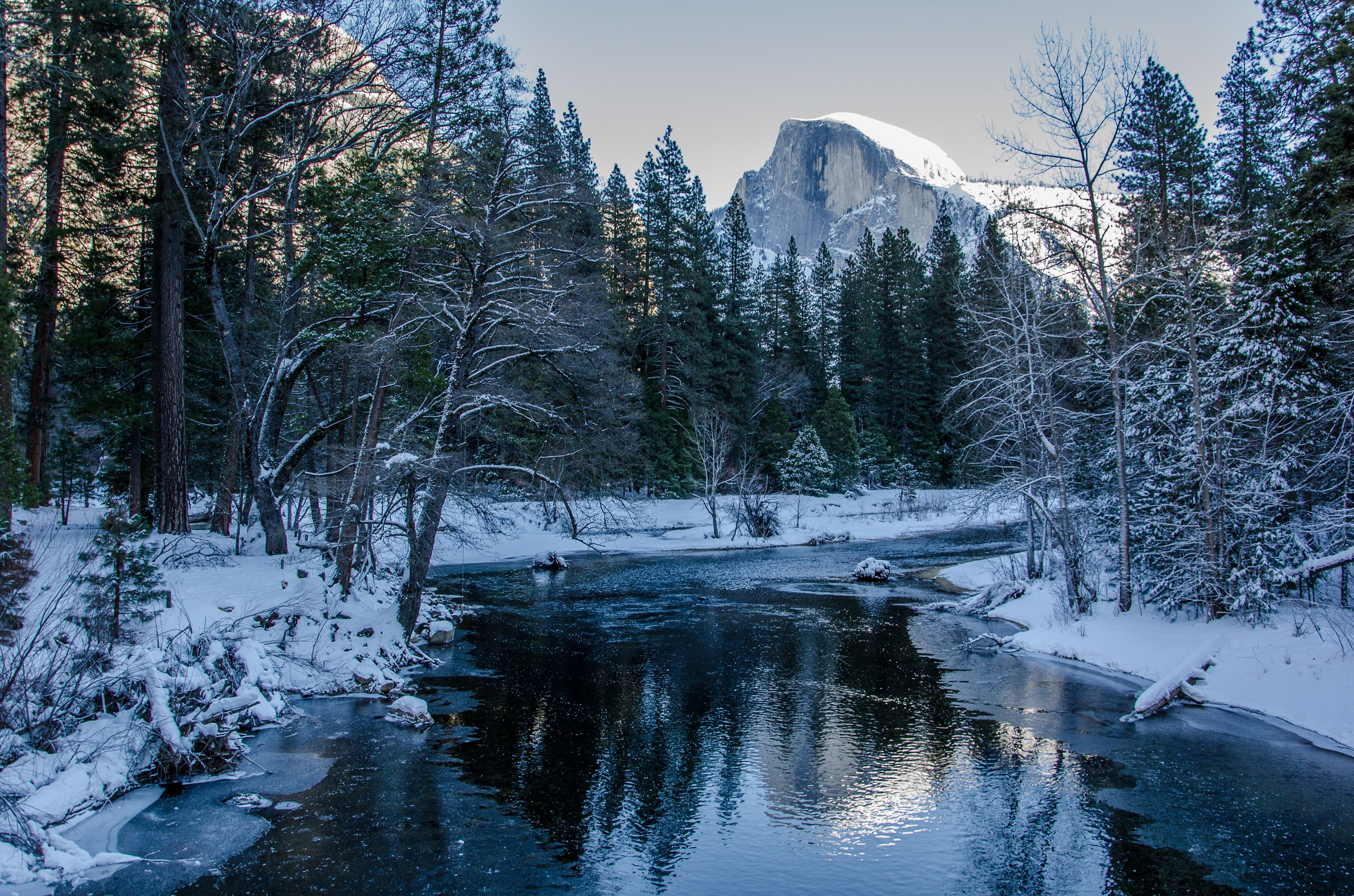 Yosemite National Park Winter River Trees Mountains