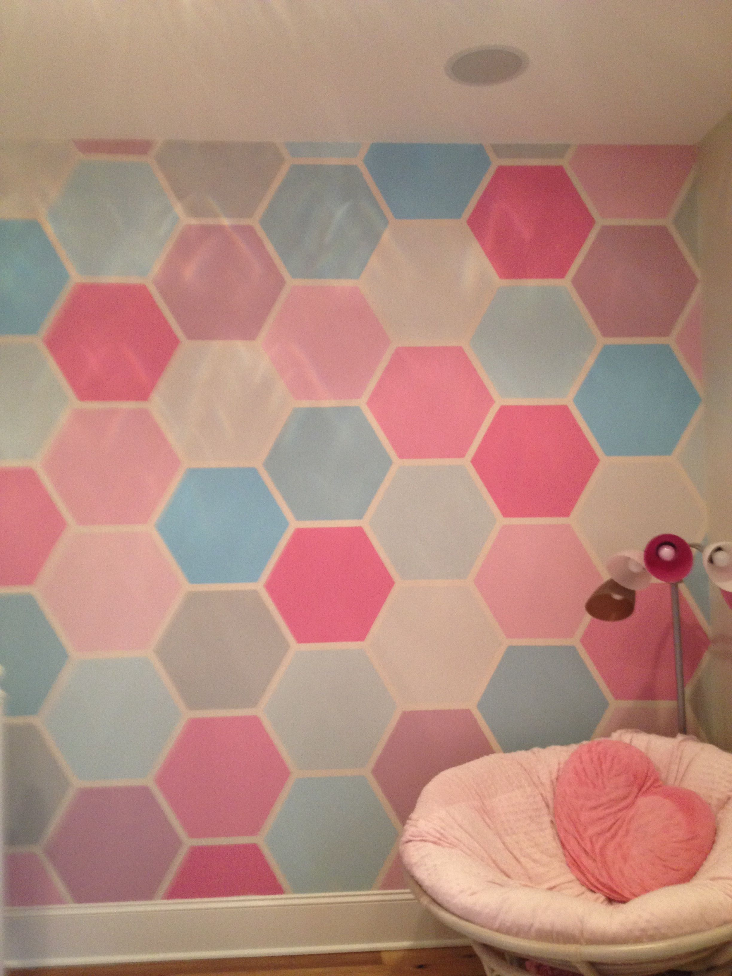 Instructions You Must Have 1 Inch Thick Painters Tape A Hexagon Stencil And Paint Place The Stencil On The Room Paint Living Room Paint Wall Paint Designs