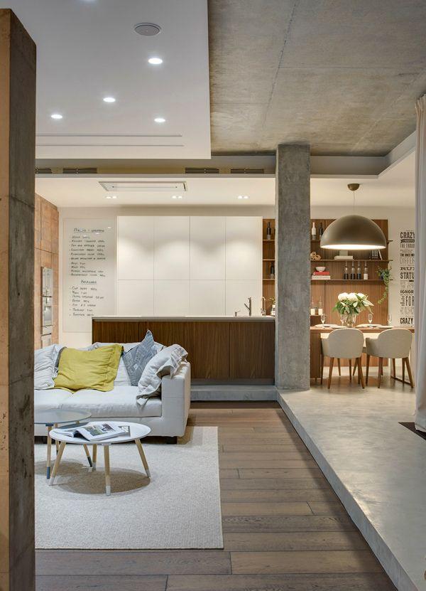 Mezcla de materiales y dise o living y cocina comedor loft for Diseno cocina comedor living