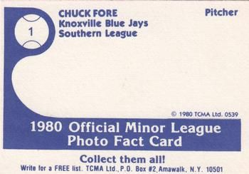 1980 TCMA Knoxville Blue Jays #1 Chuck Fore Back