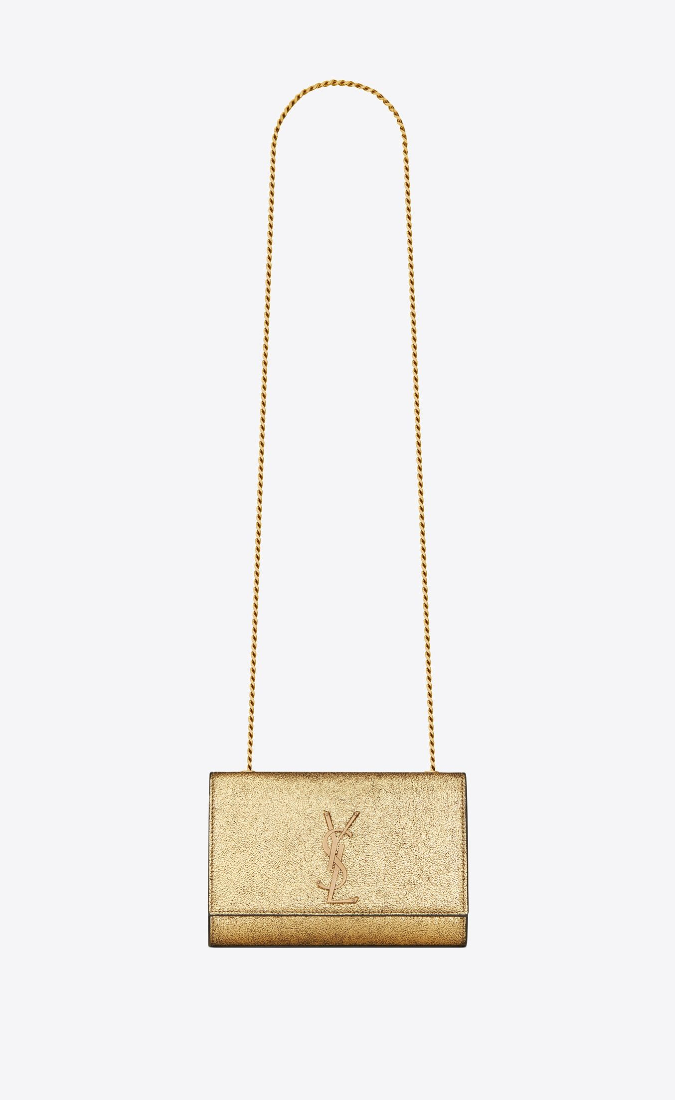 913e2ef396f0 Saint Laurent Small Kate Chain Bag In Crinkled Metallic Gold Leather ...