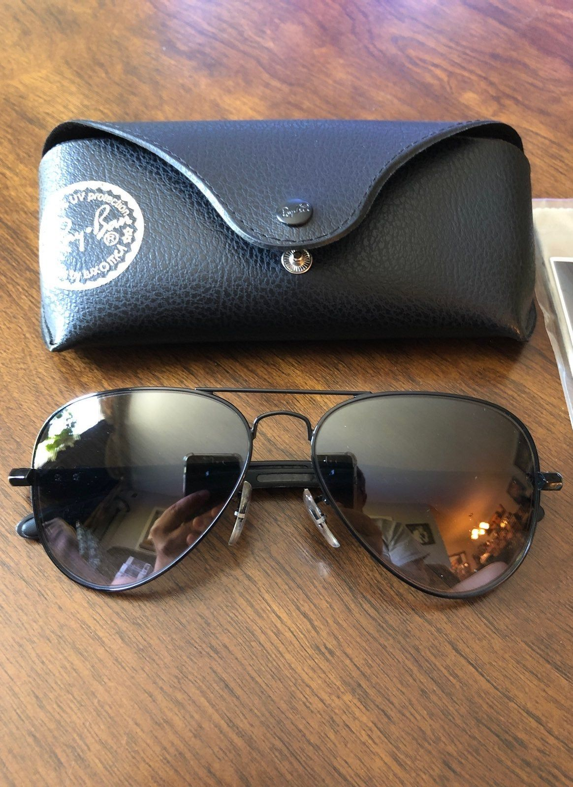 ray ban aviator black frame grey lens